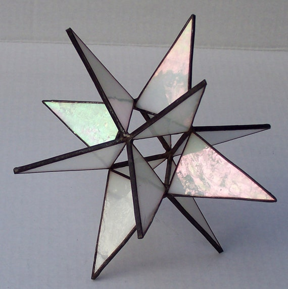 Stained glass tree topper iridescent white by