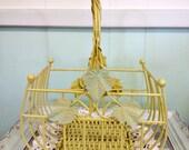 Vintage wire basket with leaf motif
