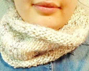 Luxe White Knit Cowl