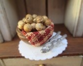 Dollhouse Miniatures -  Burgundy & Ecru Check Fabric Lined Wooden Bowl of Nuts with Cracker - Great for Christmas