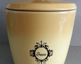 Vintage West Bend Grease Canister Can with Lid Harvest Gold Black accents