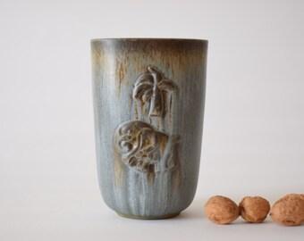 Vintage Danish - vase - elephant & palm motif - Danish midcentury pottery