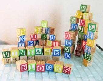 70 Wood Alphabet Blocks Pictures Animals Lot Wood Blocks
