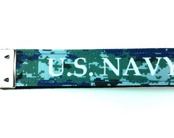 U.S. Navy Camo Keychain - Wristlet Keychain, Key Fob, Wrist Keychain