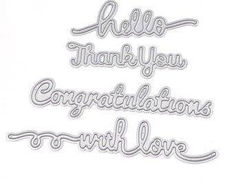 Greetings Pattern With love  Congratulations  Thank you  Hello Metal Crafts Cutting Dies Stencils #L000YC0228