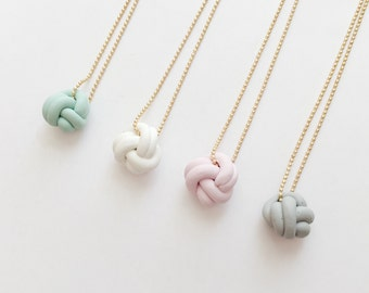 Mini Love Knot Necklace - beautiful handmade polymer clay jewellery by Clay & Clasp
