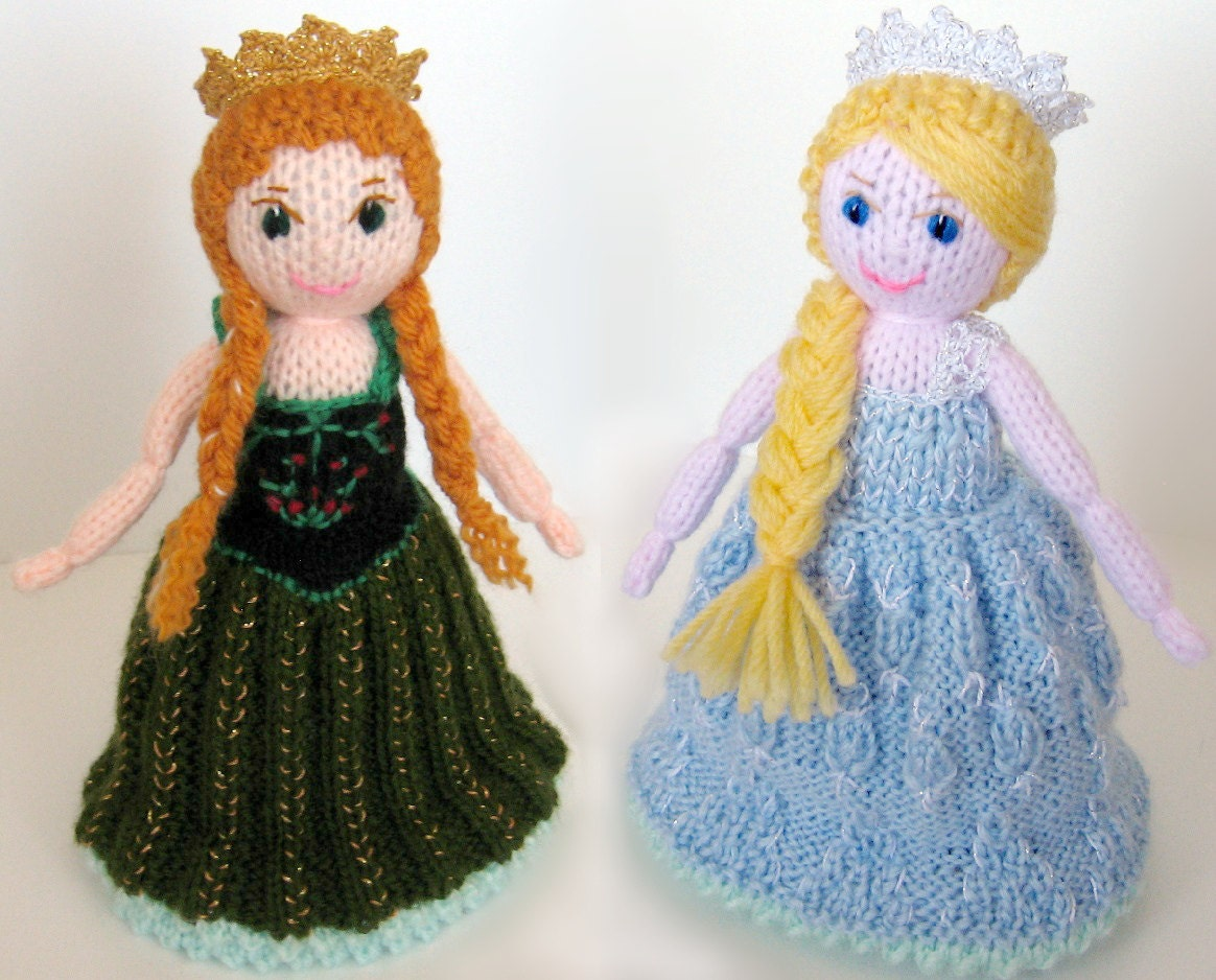 Knitting Pattern For Upside Down Doll : Traditional toy Anna and Elsa topsy-turvy doll from