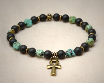 "Breath of life ""Ankh"" cross, African turquoise, matte black onyx stretch bracelet"