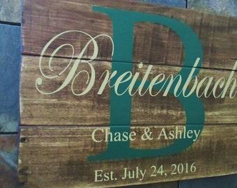 Wedding Established Wood Sign, Gift for Couple, Custom Name Sign, Family Established Name Sign, Rustic Pallet Sign, Wedding Registry Gift