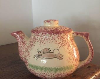 Vintage Spongeware Teapot ... Free Shipping
