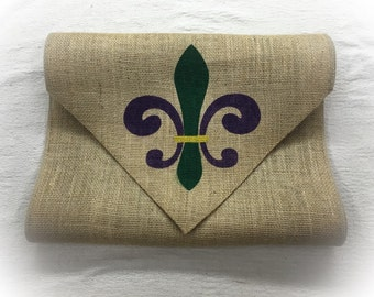 """Burlap Table Runner 12"""", 14"""", & 15"""" wide with a Fleur de Lis on the both ends in 3 colors Mardi Gras Party Home decorating"""