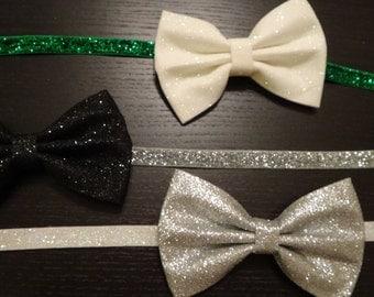 sparkly bow headband, newborn, infant, toddler, photo prop, glitter, elastic, lace headband, christmas, new years, holiday