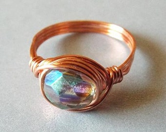 Copper Ring, Wire Wrapped Ring, Light Green Ring, Green Glass Ring, Iridescent Ring, Unique Ring, Simple Ring, Gift for Best Friend