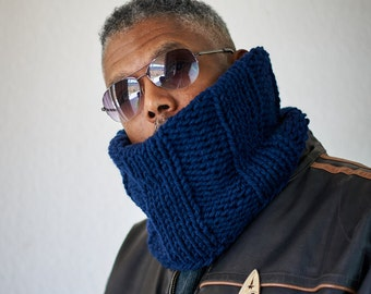 Mens or Womens Knit Snood/ Blue Neckwarmer