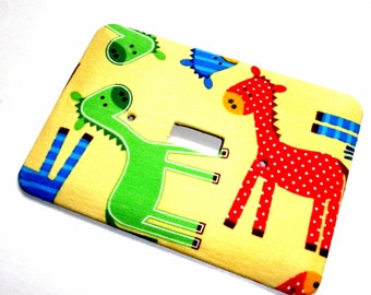 Primary Color Ponies Nursery Print  Light Switch Plate Wall Decor
