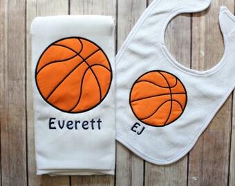 Basketball Baby Gift, Basketball Burp Cloth, Sports Baby Gift, Basketball Baby Set, Monogrammed Baby Gift, Basketball Bib, Monogrammed Boy