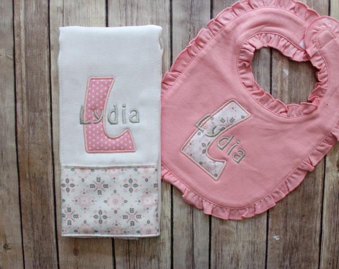 Monogrammed Baby Girl Burp Cloth and Bib Set - Personalized Girl Burp Cloth Bib Baby Gift, Baby Shower Gift, New Baby Monogrammed Gift, Pink