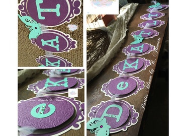 Butterfly Theme Banner/Aqua Blue and Purple Banner