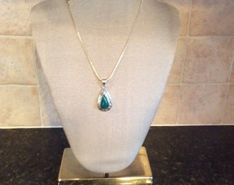"""Genuine Green Onyx Gemstone Pendant Necklace in Sterling Silver 18"""""""