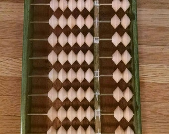 Vintage, Solid Wood Green Suanpan Japanese Abacus, counting table, very well made