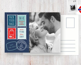 Destination Save the Date Postcard - London / England / British wedding with photo, blue, red & white with postage stamps and travel theme