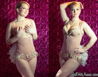 Custom Burlesque Showgirl Costume Underbust Cincher w/Bustle - ALL SKIN TONES (Nude/White)