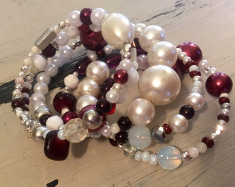 Maroon and pearl memory wire bracelet with silver accents. Handmade vintage beaded bracelet with memory wire. Made with new and old beads.