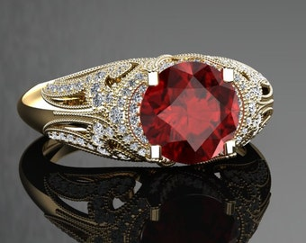 Ruby Engagement Ring Ruby Ring 14k or 18k Black Gold VS1RUBYY