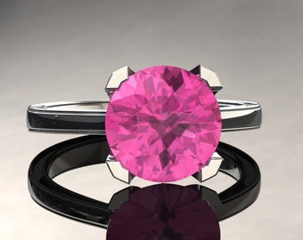 Pink Sapphire Engagement Ring Pink Sapphire Ring 14k or 18k White Gold Matching Wedding Band Available SW1PKW