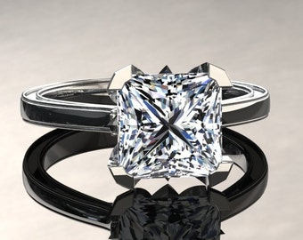 Moissanite Engagement Ring Princess Cut Moissanite Ring 14k or 18k White Gold Matching Wedding Band Available SW17MOISW