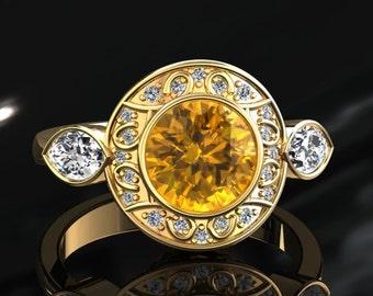Yellow Sapphire Halo Engagement Ring Yellow Sapphire Ring 14k or 18k Yellow Gold W19YSY