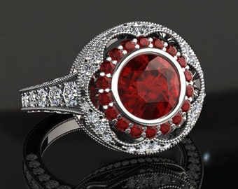 Ruby Engagement Ring Ruby Ring 14k or 18k White Gold W33RUBYW