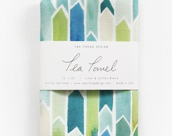 Turquoise Shift - Watercolor Tea Towel