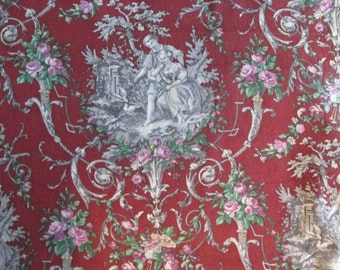 English Garden on Burgundy Cotton