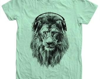 Lion Women's T shirt  Slim Fit Hand Screen Print American Apparel Crew Neck Tshirt