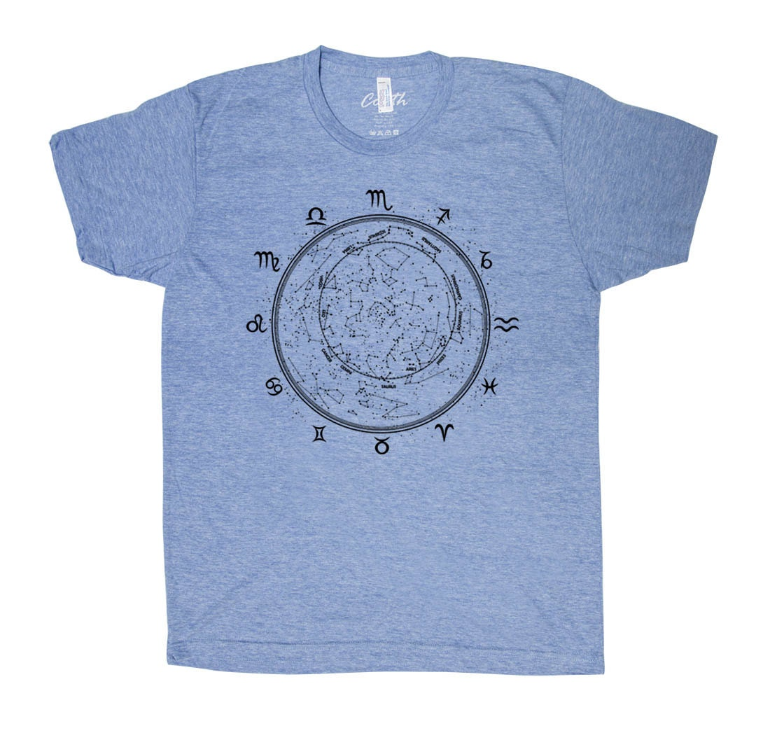 Zodiac t shirt men graphic tee custom hand screen tri blend for Tri blend custom t shirts