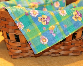 Floral Plaid Basket Liner