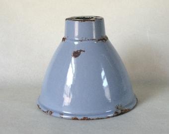 Vintage Shabby Industrial Light Shade, Enamel Steel, Grey, Pendant, Uplighter
