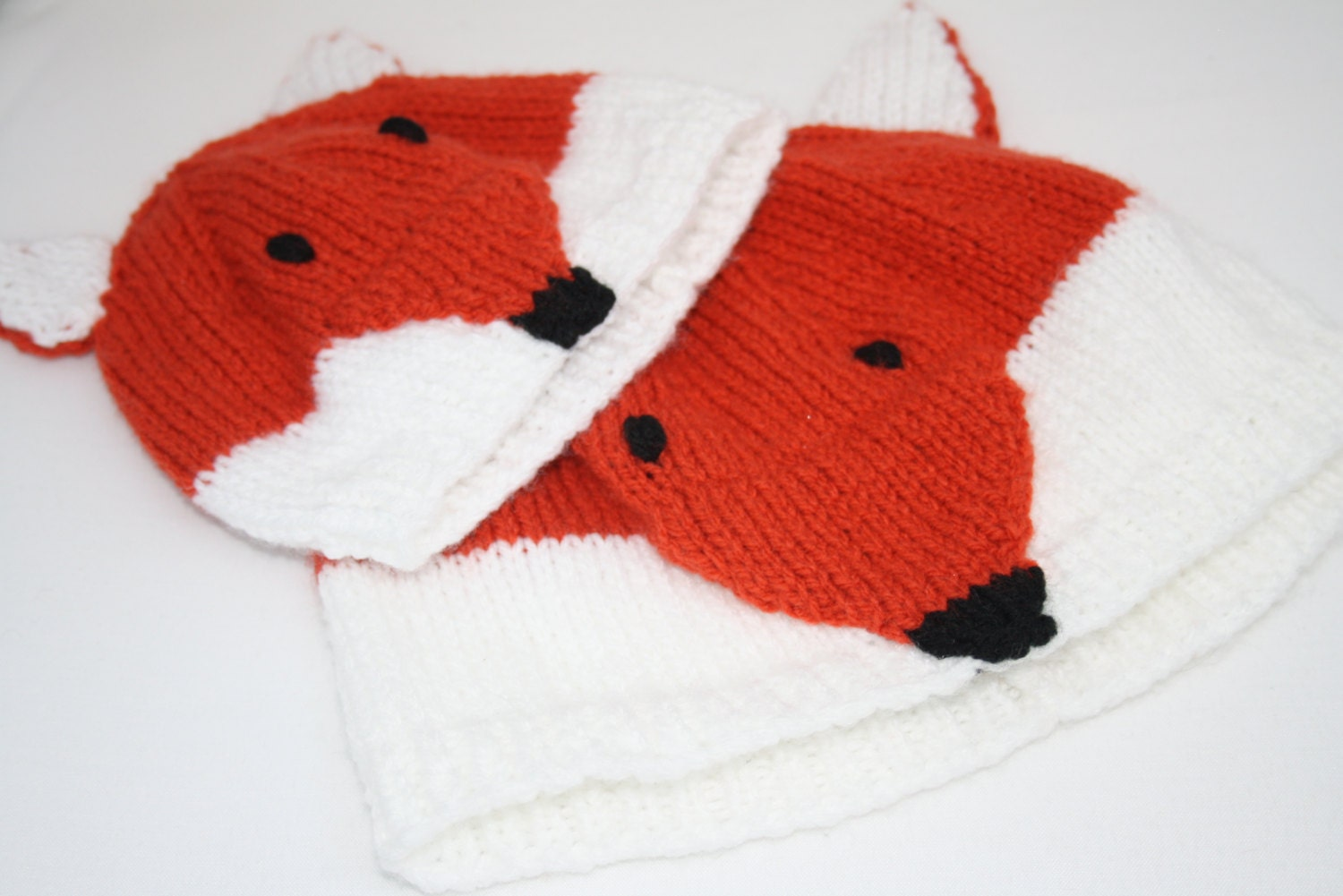 Knitting Pattern For Fox Hat : Knitted Fox Hat Knitted Fox Hat for Mom Adult Fox Hat Knitted