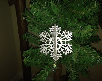 3 Dimensional Silver Gilded Snowflake Ornament