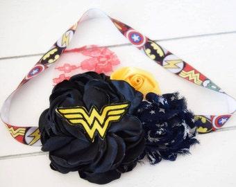 Superhero Headband - Black Yellow Blue Red Green White - Geek Headband - Comic Headband - Superhero Costume - Halloween Headband - Adult Bow