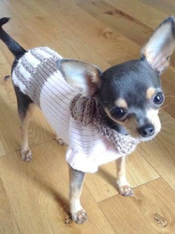 Knitting Pattern For Jack Russell Dog Coat : Dog clothes A dog sweater in Baby Pink and Brown by CUTIEDOG