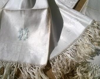 Unused Victorian Silk Damask Towel Fringed French White Linen Silk Embroidered Monogram Original Condition Antique Linen #sophieladydeparis