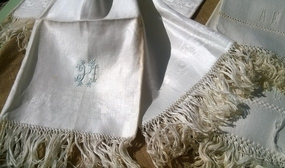 Unused Victorian Silk Damask Towel Fringed French White Linen Silk Embroidered Monogram Original Condition Antique Linen #sophieladydeparis