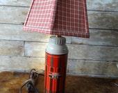 Vintage Thermos Lamp Revamped Orange Brown Medium Size