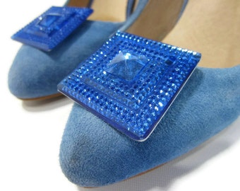 Blue Shoe Clips, Royal Blue Shoe Buttons, Something Blue Shoe Clips, Blue Shoe Bling, Sparkling Blue Shoe Clips, Blue Glitter Shoe Clips