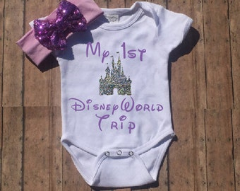 My First Disney Trip, Disney Shirt, Disney Onesie, Baby Girl, Toddler, Girls, Castle Shirt, Glitter