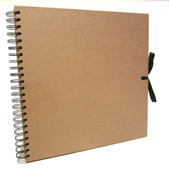 Square Kraft Ribbon Scrapbook, Photo Album, Display Book, Thick Brown Pages