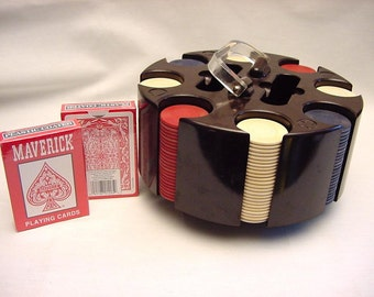 Vintage Poker Caddy Revolving Rotating Bakelite Cards and Chips Lucite Handle