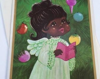 Vintage Holiday Christmas Greeting Card - Caroling Angel and Tree - African American Christmas Card Unused - Black Americana Christmas